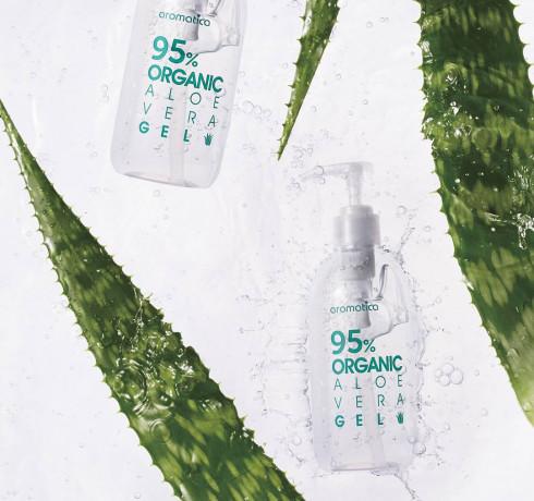 Органический увлажняющий гель алоэ вера (mini) Aromatica 95% Organic Aloe Vera Gel