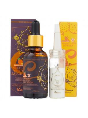 Набор для осветления кожи лица Elizavecca Vitamin C 100% Powder + Vita-Multi Whitening Sauce Serum